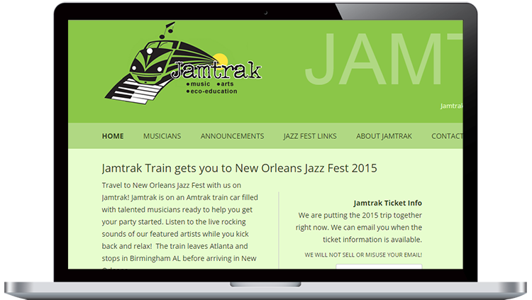 Jamtrak website design