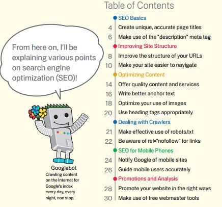 Googles starter guide to SEO