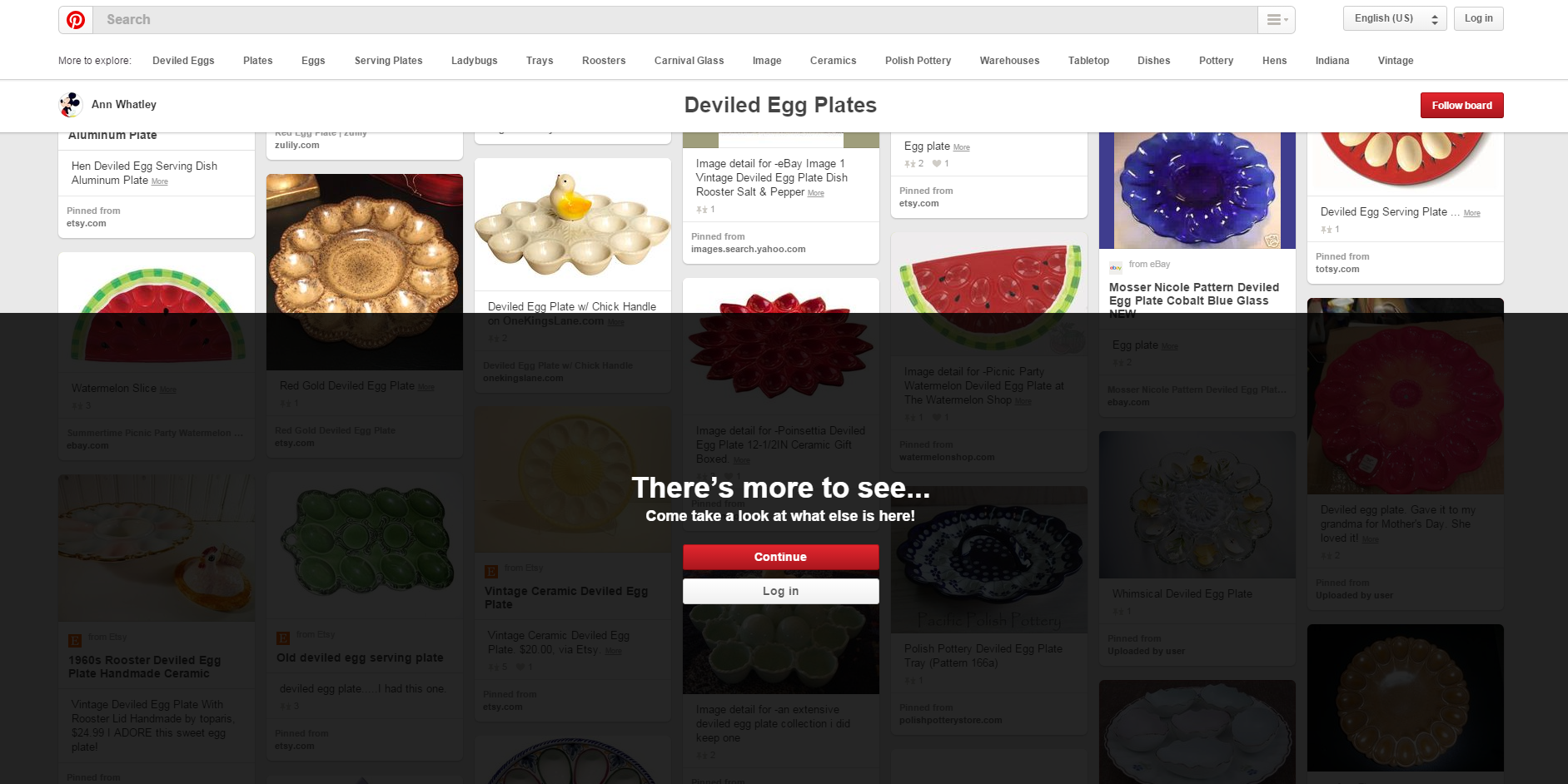Pinterest prompt to login