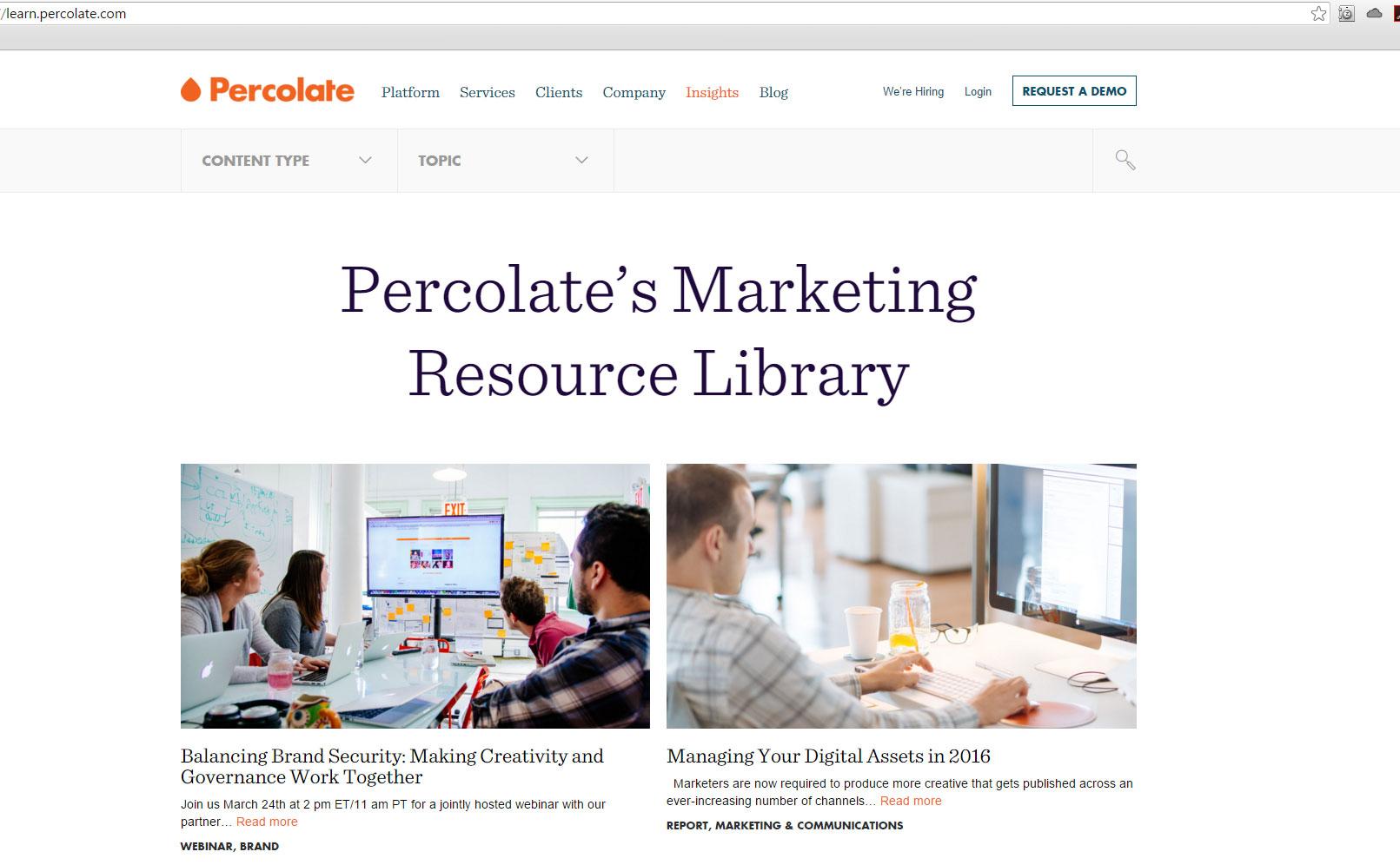 blog design of Percolate website